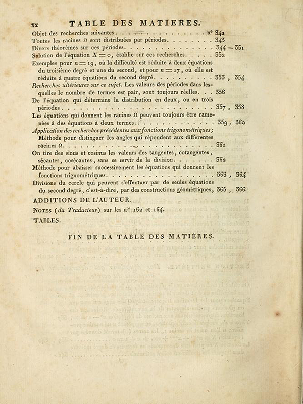 Fifth page of table of contents of Recherches Arithmétiques by Carl Friedrich Gauss, 1807