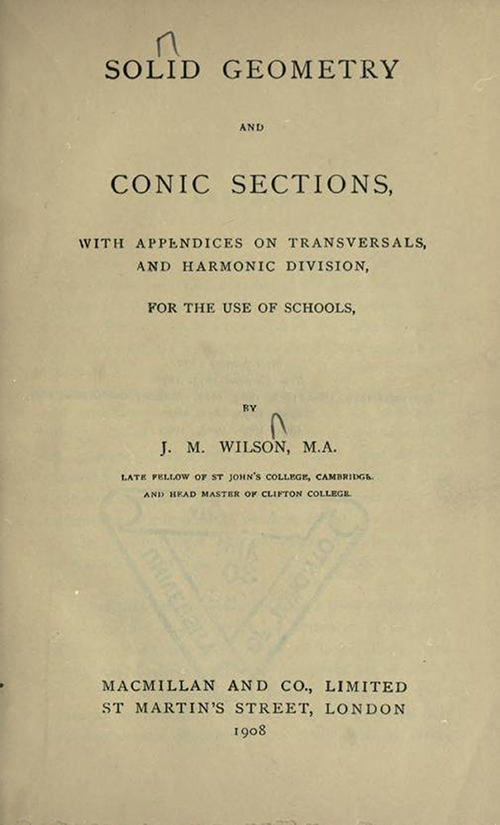 Title page of Solid Geometry and Conic Sections by James Wilson, published in 1908