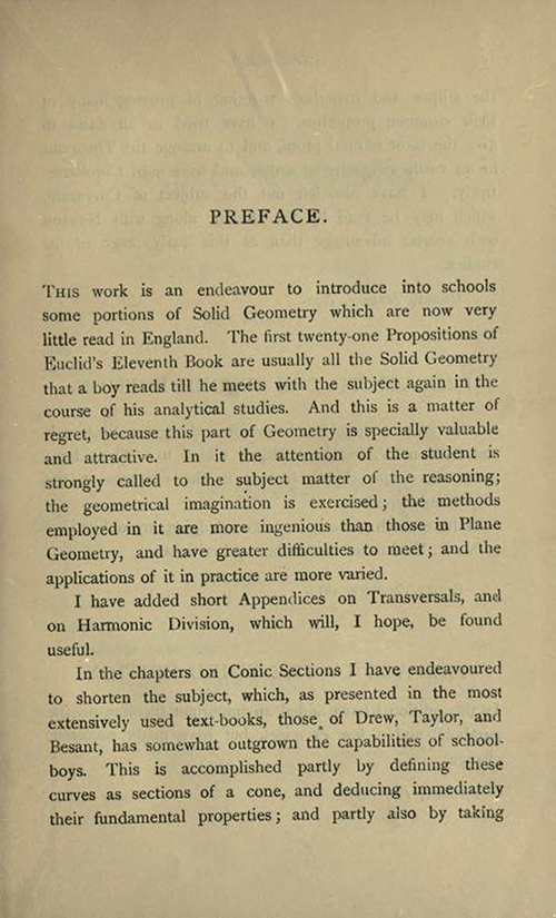 First page of preface to Solid Geometry and Conic Sections by James Wilson, published in 1908