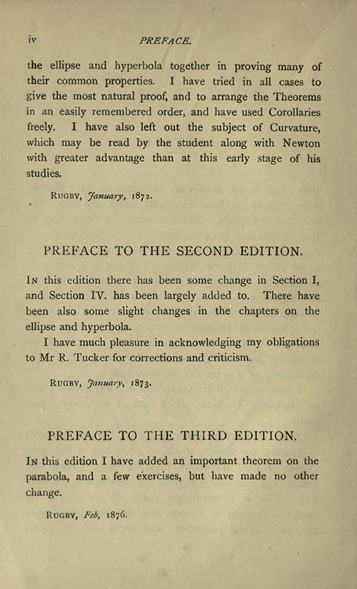 Second page of Preface to Solid Geometry and Conic Sections by James Wilson, published in 1908