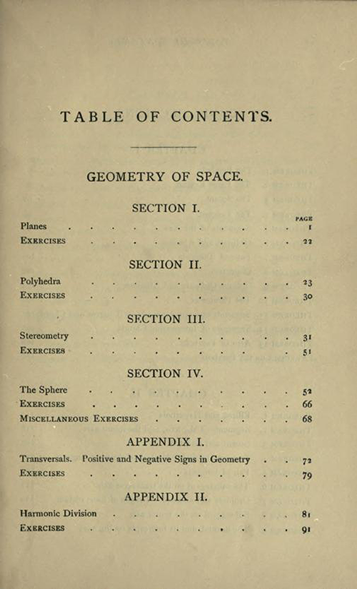 First page of the Table of Contents to Solid Geometry and Conic Sections by James Wilson, published in 1908