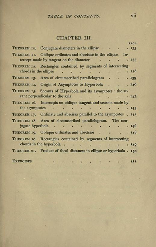 Third page of the Table of Contents to Solid Geometry and Conic Sections by James Wilson, published in 1908