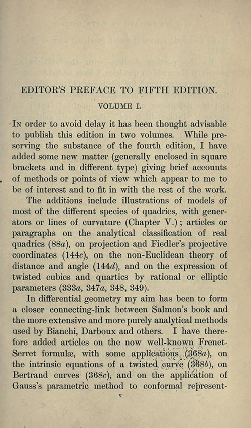 First page of Editor's Preface to Treatise on the Analytic Geometry of Three Dimentions by George Salmon, fifth edition, 1912