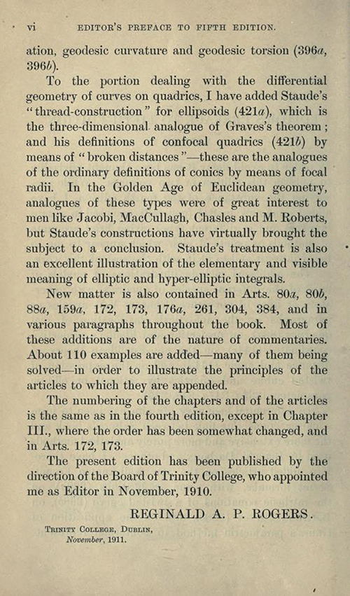 Second page of Editor's Preface to Treatise on the Analytic Geometry of Three Dimentions by George Salmon, fifth edition, 1912