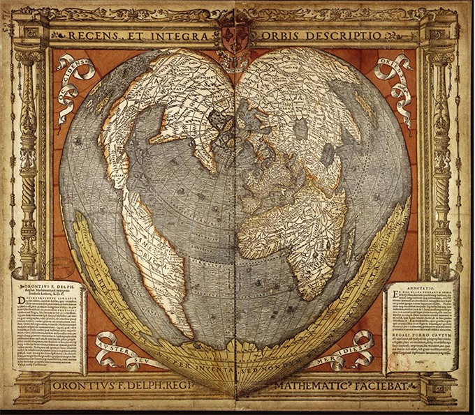 Mathematical treasure oronce fines 1534 world map mathematical he was among the first french mathematicians to delve into cartography in this 1534 map oronce orontius employed a heart shaped projection to allow gumiabroncs Images
