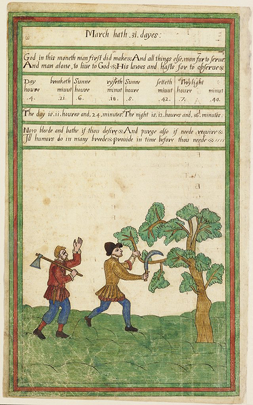 Page of information concerning March from the Trevelyon Miscellany