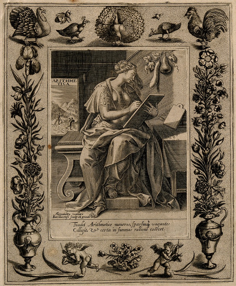 Muse of arithmetic, engraved by Alexandre Vallée around 1600.