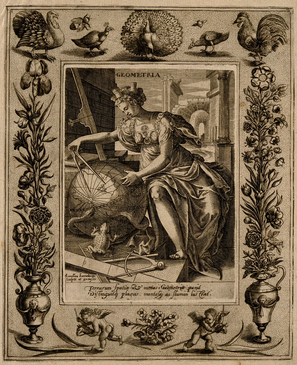 Muse of geometry, engraved by Alexandre Vallée around 1600.