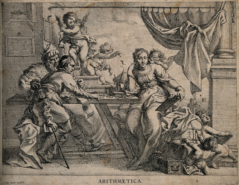 17th-century engraving of Arithmetic with two merchants by Cornelis Schut.