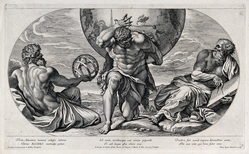 1674 engraving by Pietro Aquila showing Hercules with two philosophers.