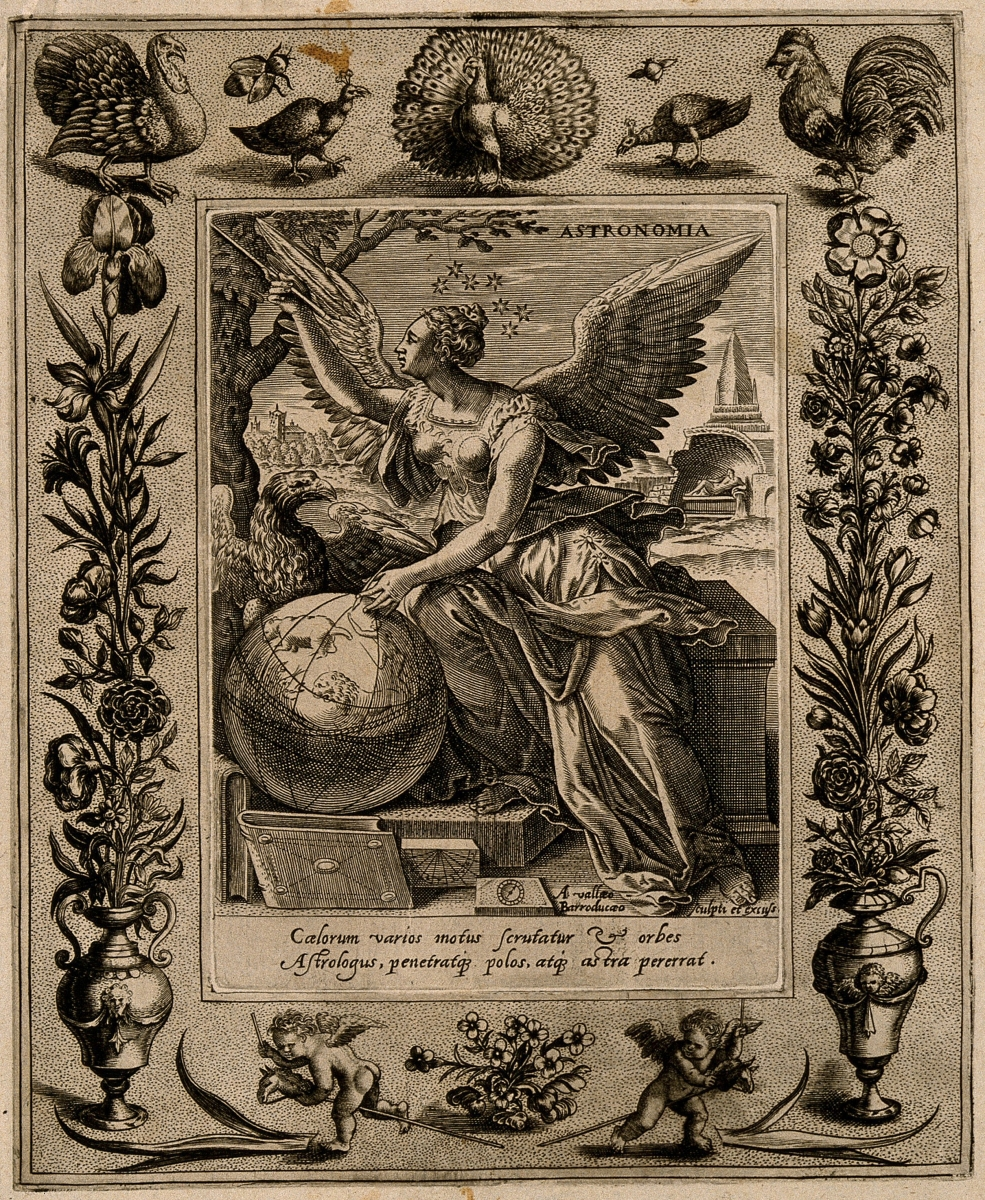 The Muse of astronomy, engraved by Alexandre Vallée around 1600.