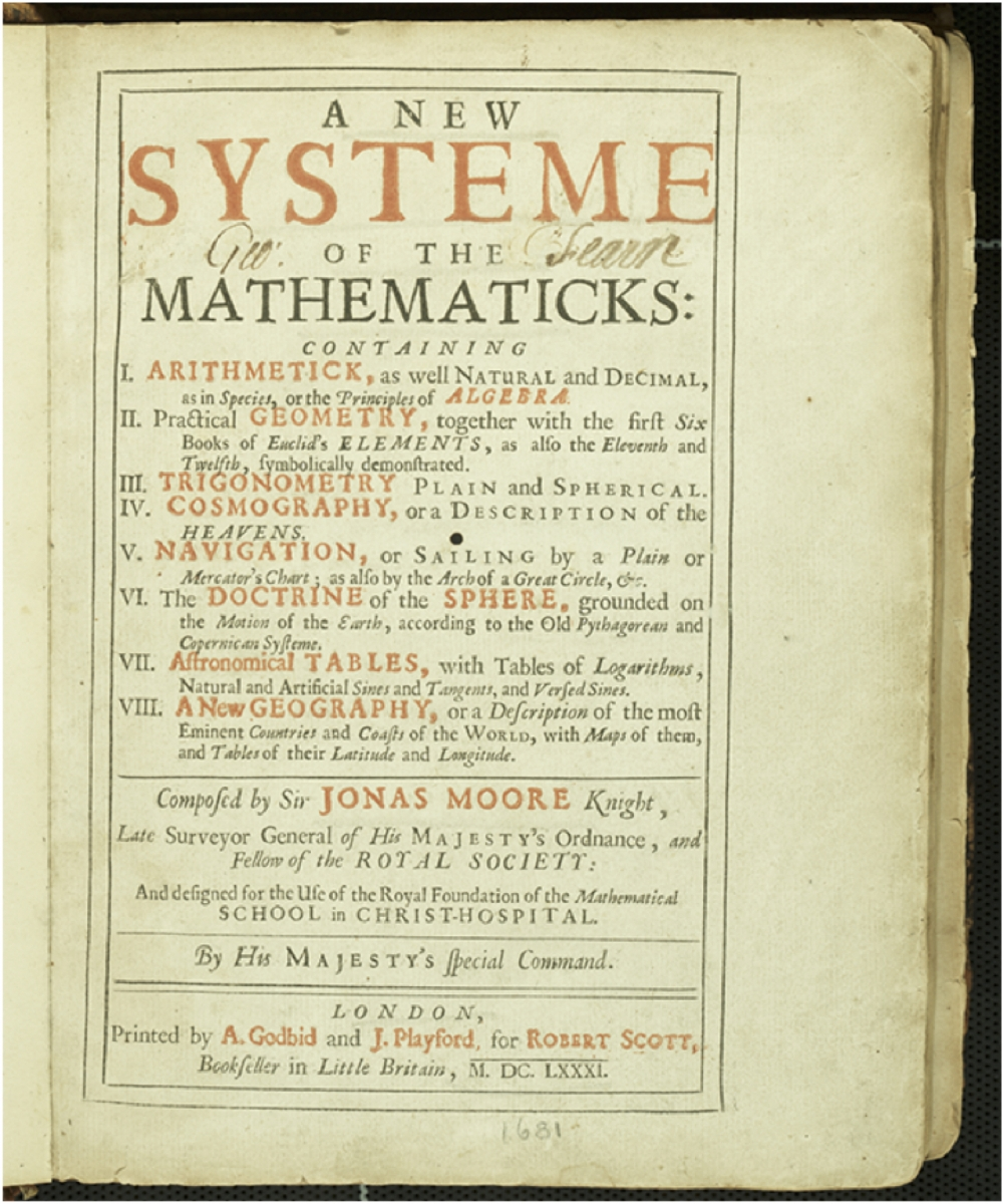 Title page of Jonas Moore's 1681 A New System of the Mathematics.
