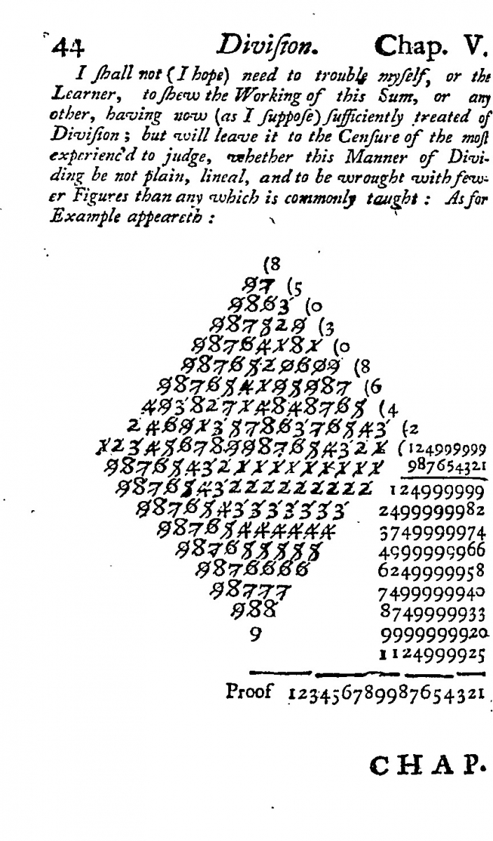 Pages 54-55 from Hodder's Arithmetic (9th edition, 1671).